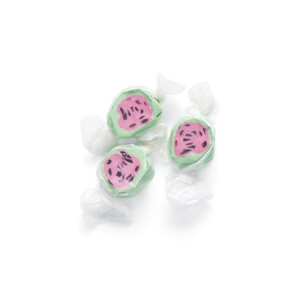 watermelon taffy three pieces of candy with green pink and black dots