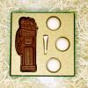 chocolate golf gift set with golf bag tee and three balls
