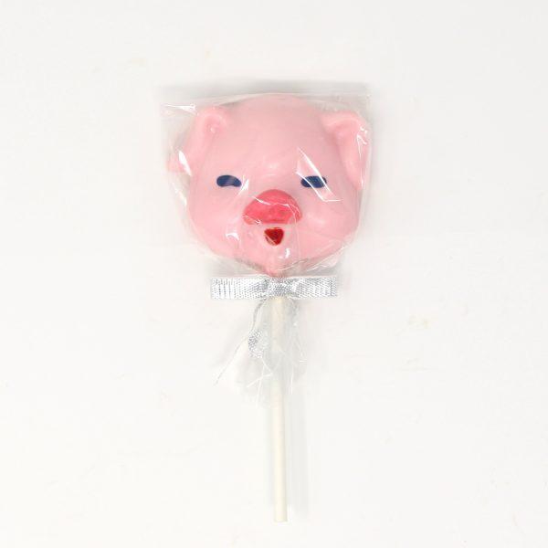 white chocolate pig piggy pink lollipop