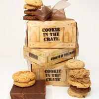 great crate gift tower cookies fudge and fudge sauce