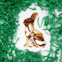 marble white and dark chocolate easter bunny sitting with flower