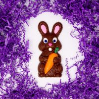 Solid Milk Chocolate Easter Bunny with a Carrot