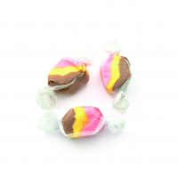 banana split taffy colored yellow brown and pink