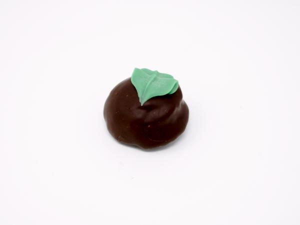 mint chocolate truffle with green mint julep leaf in dark chocolate